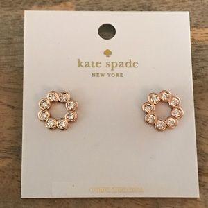 NWT Kate Spade Rose Gold Crystal Stud Earrings